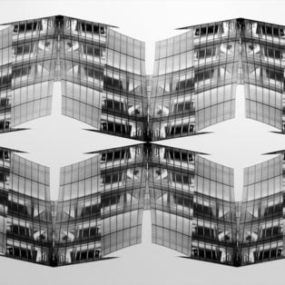 """20-3/4"""" x 44""""Hand-cut-and-assembled gelatin silver photo collage Oct. 2014From an original photograph of the IAC Building, Chelsea, NYC"""