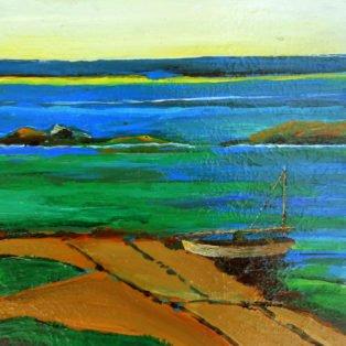 Sandy Beach by Alan Braley-12x12 mixed media