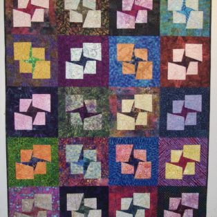 Crescents Sandy Hassan 36 sq Quilted Wall Hanging $375
