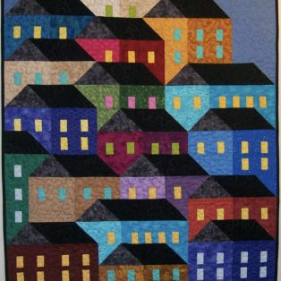 Hillside Houses Sandy Hassan 30×38 Quilted Wall Hanging $375