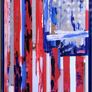 Whoever Fights Monsters (Flag No. 2)-Rachael Bohlander-Mixed Media on Mirror with Wood Frame-52x29x1.5inches-$920 – Rachael Bohlander