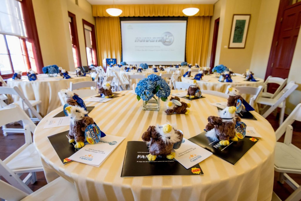 A conference setting at Hill Center in Washington DC with built in projection