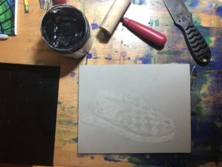 Printmaking in process