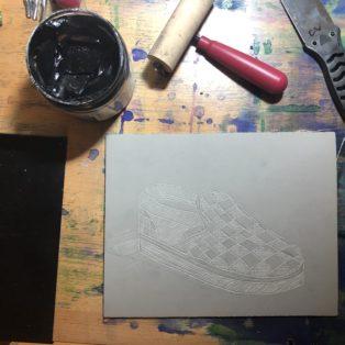 Printmaking in process