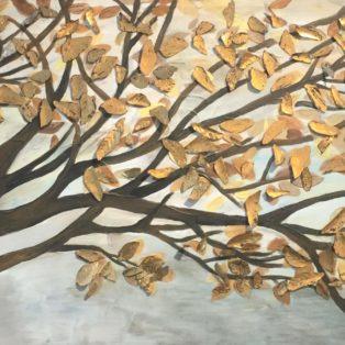 Golden Leaves-Wanjin Kim-48Wx24H-$1500 - Wanjin Kim