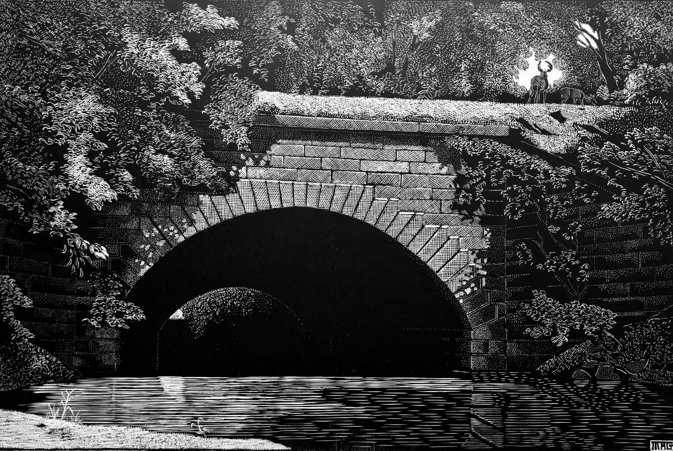 Gray - Aqueduct at Warren, Albemarle County, Virginia - woodcut - $350 - M Alexander Gray