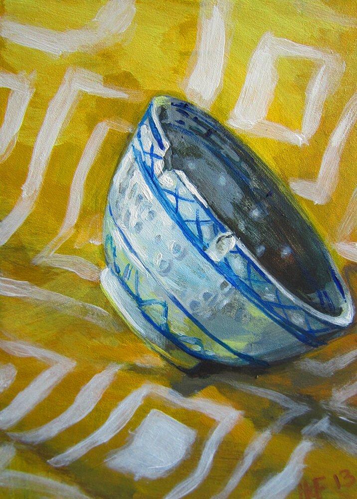 Tipped Bowl-CinCin Fang-Acrylic-6inx8in-$60 - Hui Fang