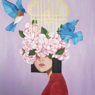 Cage, Khanh Nguyen, oil and acrylic, 30 x 40, 5000 - Kay Nguyen