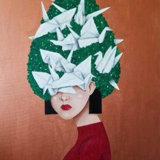 cranes, Khanh Nguyen, oil and acrylic, 30 x 40, 5000 - Kay Nguyen