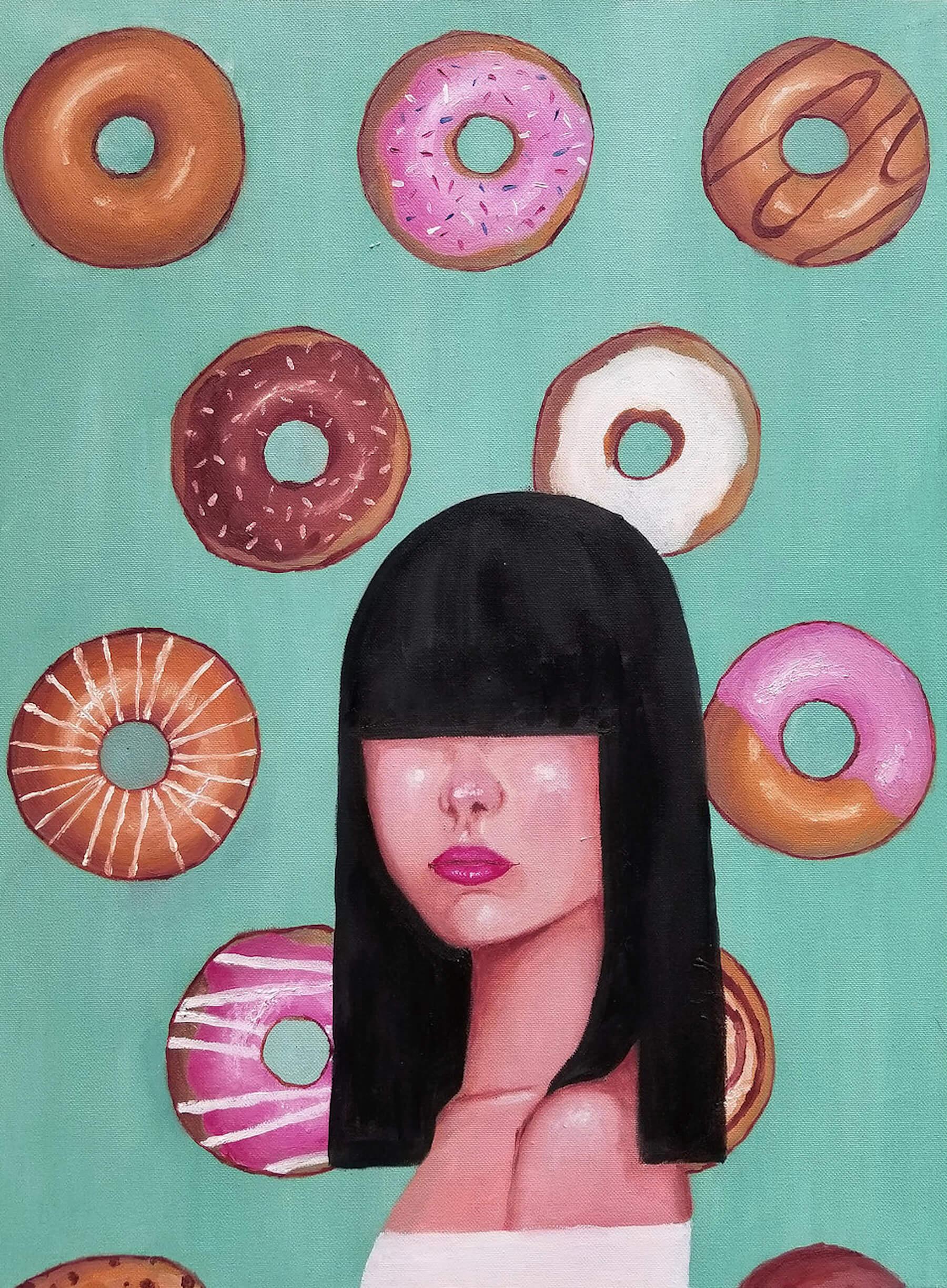 donuts, Khanh Nguyen, oil, 24 x 18, 5000 - Kay Nguyen