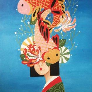 koi, Khanh Nguyen, oil, 30 x 40, 5000 - Kay Nguyen