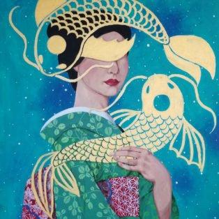 koi2, Khanh Nguyen, oil and acrylic, 30 x 40, 5000 - Kay Nguyen