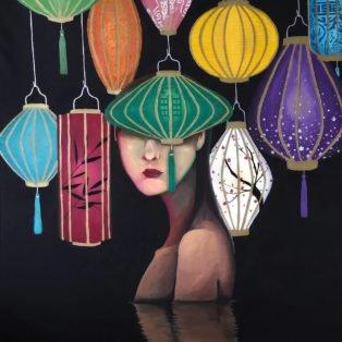 lanterns, Khanh Nguyen, oil and acrylic, 30 x 40, 5000 - Kay Nguyen