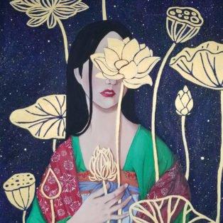 lotus, Khanh Nguyen, oil and acrylic, 30 x 40, 5000 - Kay Nguyen