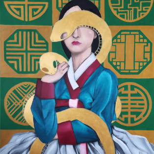snakes, Khanh Nguyen, oil and acrylic, 30 x 40, 5000 - Kay Nguyen