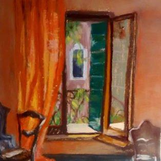 Garden Room,Venice-LInda Norton-soft pastel-11h x 9h-290. - Linda Norton