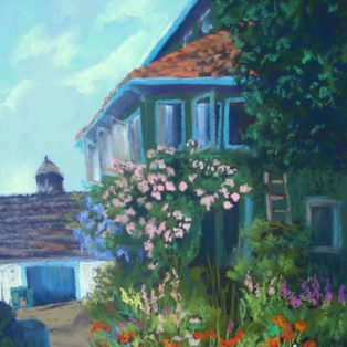 Giverny House,France-Linda Norton-soft pastel-22hx 18w-400. - Linda Norton