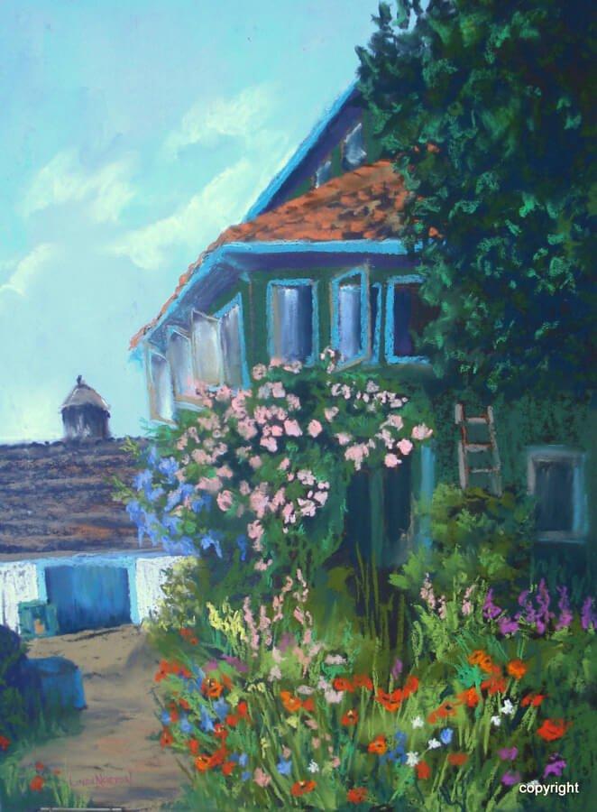 Giverny House,France-Linda Norton-soft pastel-22hx 18w-400. - Linda Norton