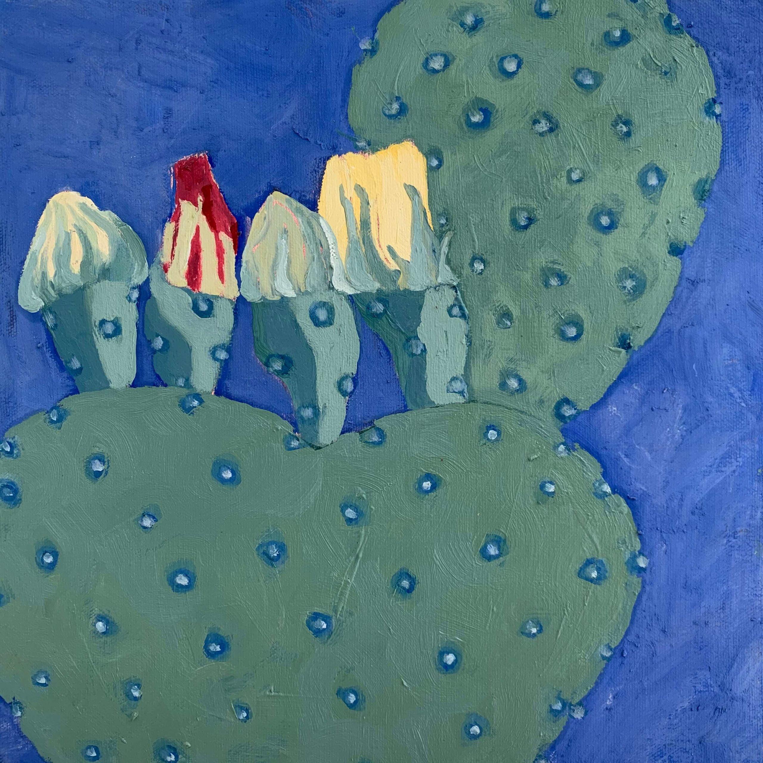 PRICKLY PEAR 3 , Kitty Kaupp, Oil_Marble Dust on Canvas, 12_ x 12_, $300 - Kitty Kaupp