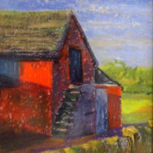 Red Barn-LInda Norton-soft pastel-8w x10h-225. - Linda Norton