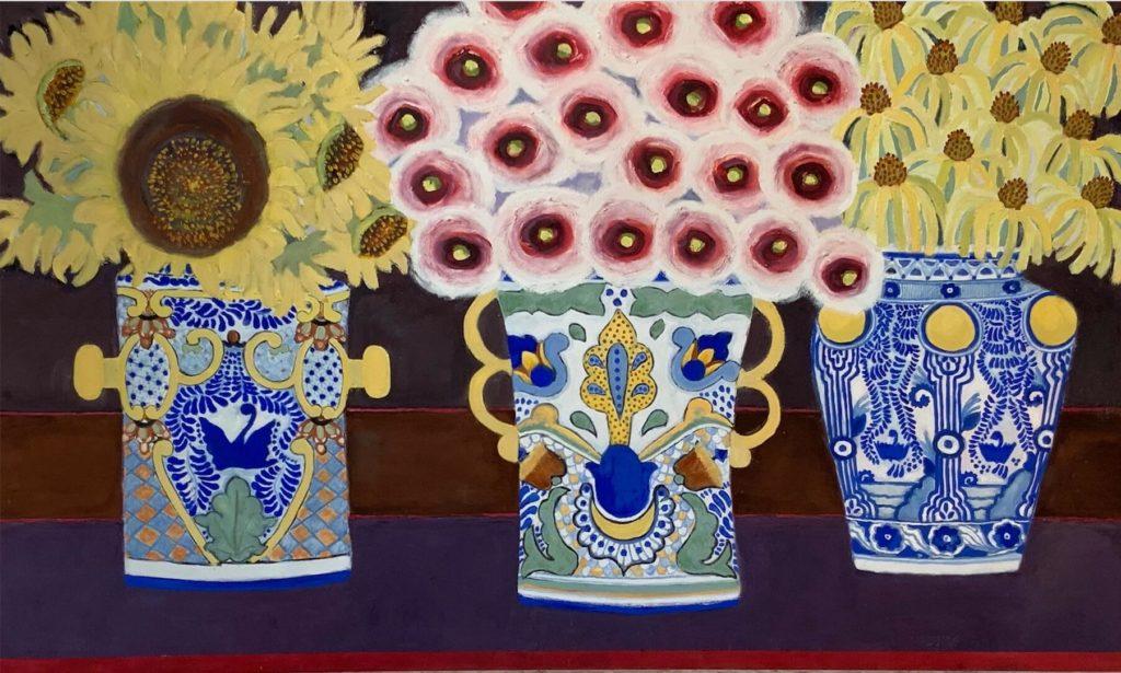 TALAVERA FLORA, Kitty Kaupp, Oil_Marble Dust on Canvas, 36_ x 60_, 3500 - Kitty Kaupp