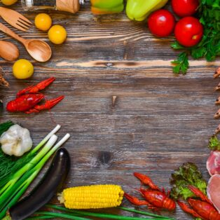 assortment of veggies, poultry and beef
