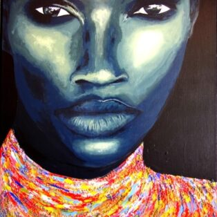 portrait of a women with dark skin and stoic face