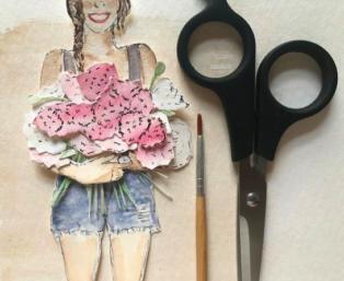 pop up art of a girl holding flowers