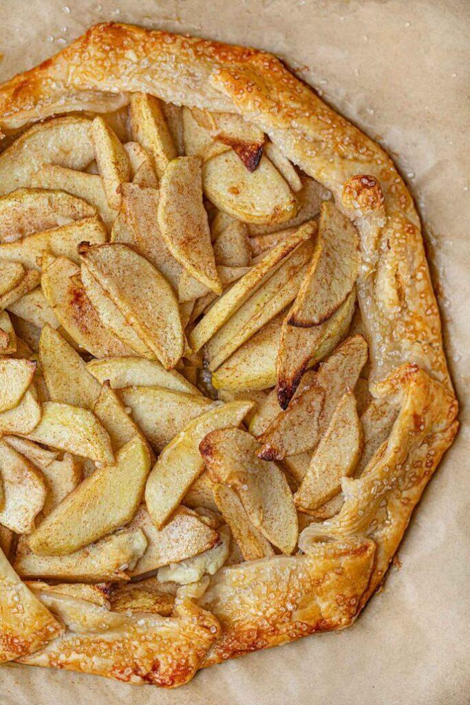 Apple crostata with golden crust