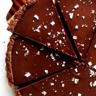 Dark chocolate tart with chocolate crust and Maldon salt on top