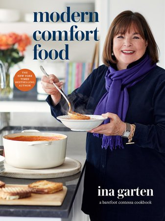 Ina Garten ladles soup into a bowl from a large Dutch oven
