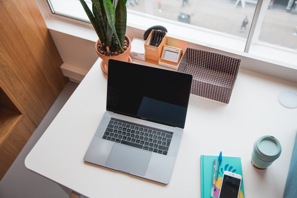 laptop sitting on a desk