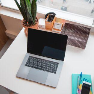 laptop sitting on a desk