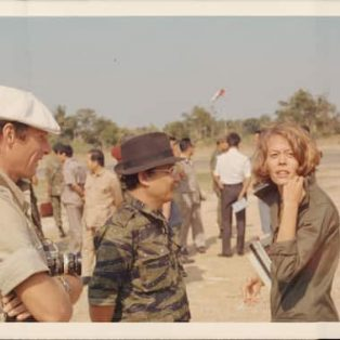 Cambodian Prime Minister Long Boret, center, meets with war correspondent Elizabeth Becker in Cambodia in 1974. (Elizabeth Becker)