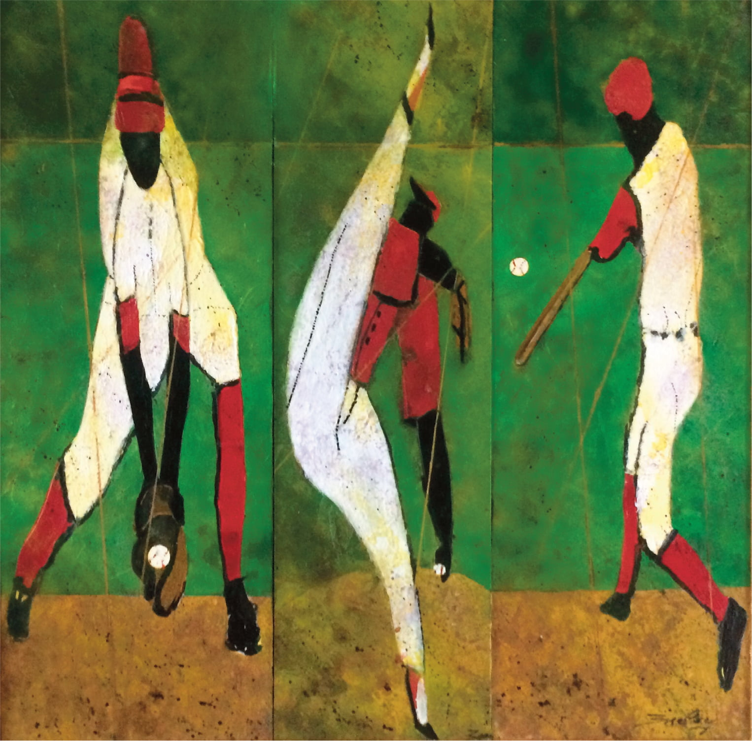 Catch, Throw, Hit the Ball, Mixed Media, 21×21