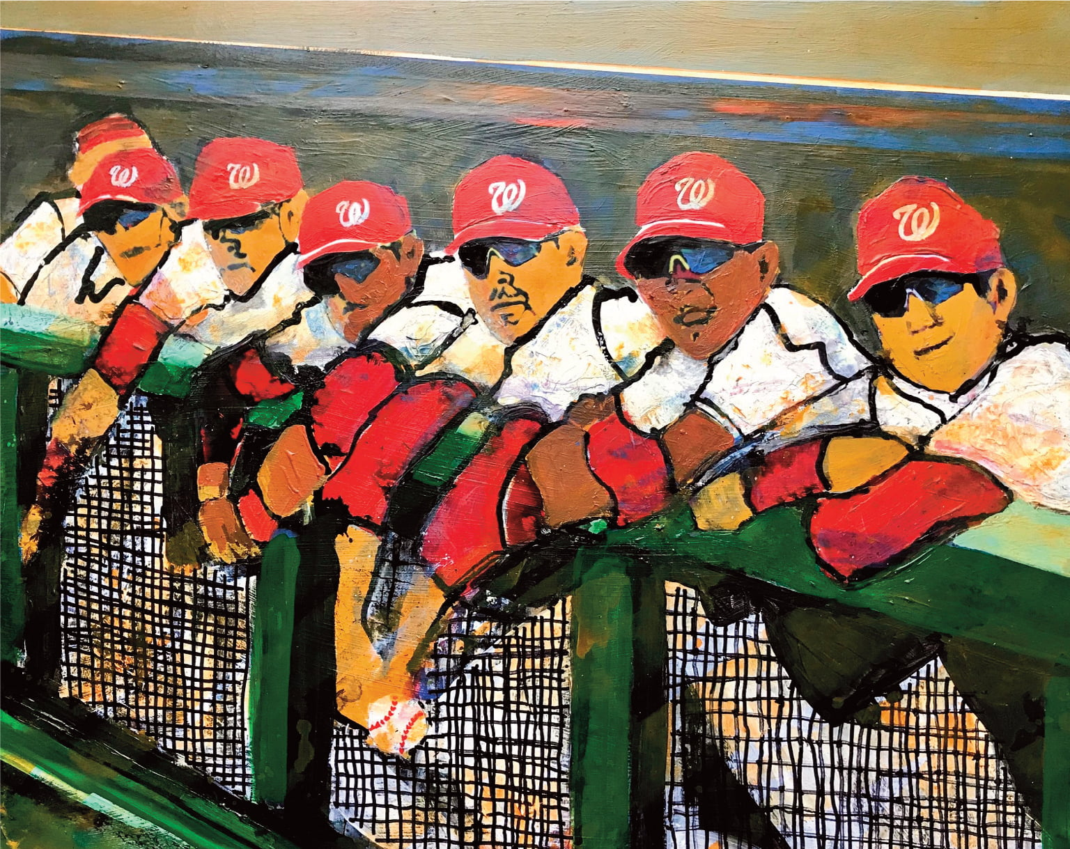 In the dugout, Mixed Media, 18×24